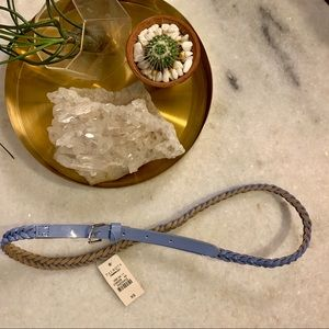 Blue leather braided belt